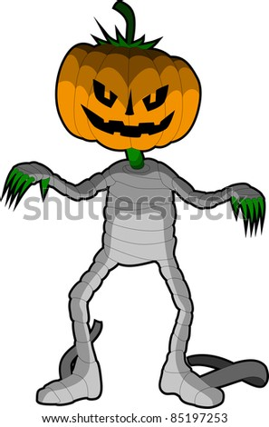 A vector illustration of a  smiling Halloween Pumpkin pretending to be a zombie or mummy. - stock vector