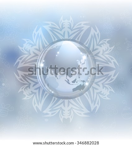 A vector illustration of a snow globe with map in a snowflake frame on the blurred background. Includes transparent objects, blending modes  and opacity masks.  - stock vector