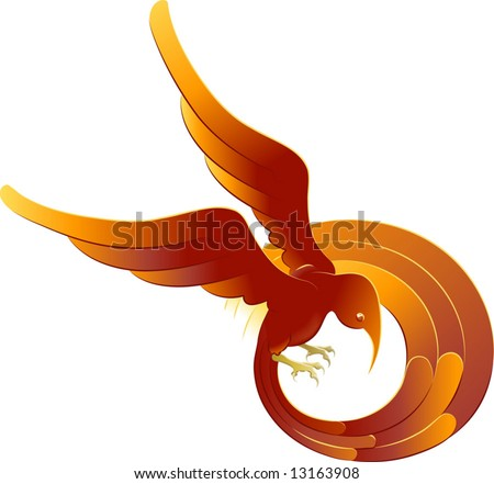 A vector illustration of a swooping stylised bright orange bird - stock vector