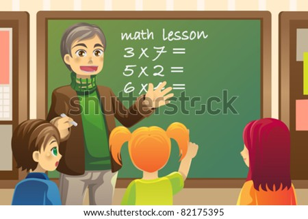 A vector illustration of a teacher teaching math in a classroom - stock vector