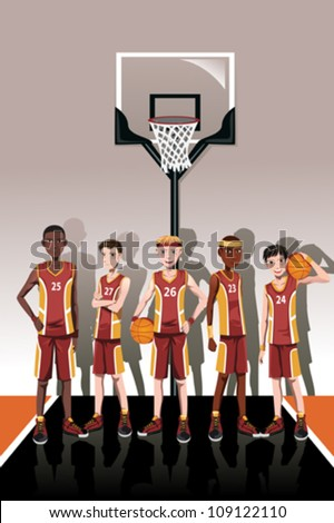 A vector illustration of a team of basketball players - stock vector
