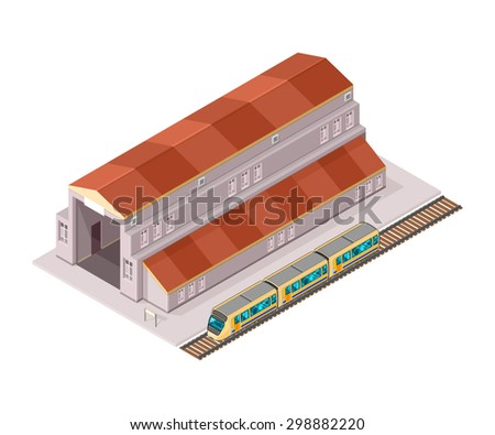 A vector illustration of a train station. Isometric Train Station Icon illustration. Public transport concept. - stock vector