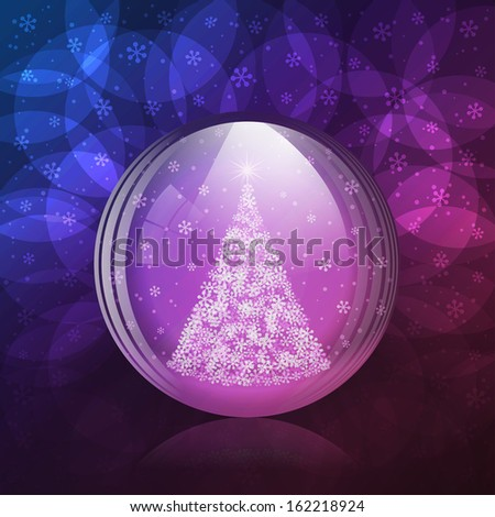 A vector illustration of a transparent luminescent snow globe with a christmas tree. Includes transparent objects, blending modes  and opacity masks. Layered.  - stock vector