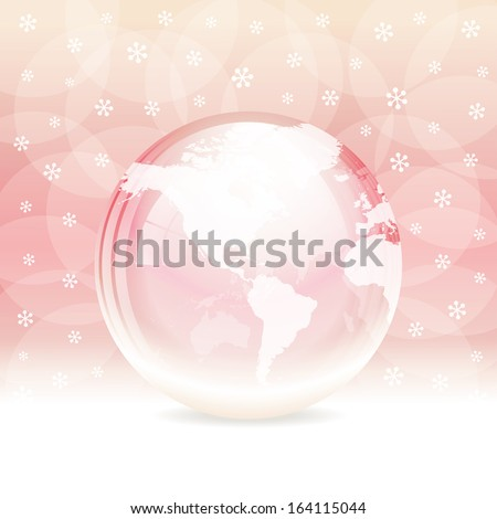 A vector illustration of a transparent snow globe with map. Includes transparent objects and opacity masks. Layered.  - stock vector
