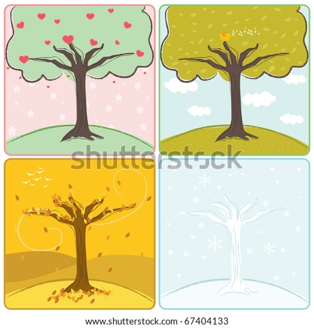 A vector illustration of a tree in four seasons
