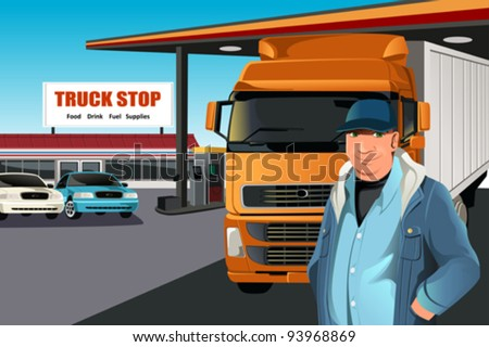 A vector illustration of a truck driver at a truck stop