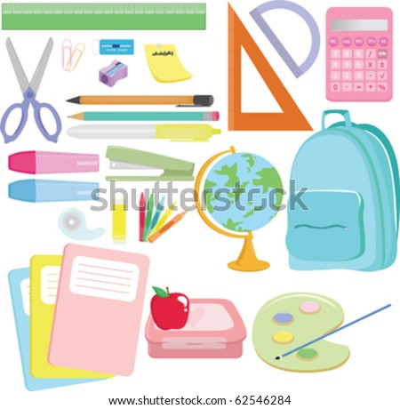 A vector illustration of a variety of school supplies - stock vector