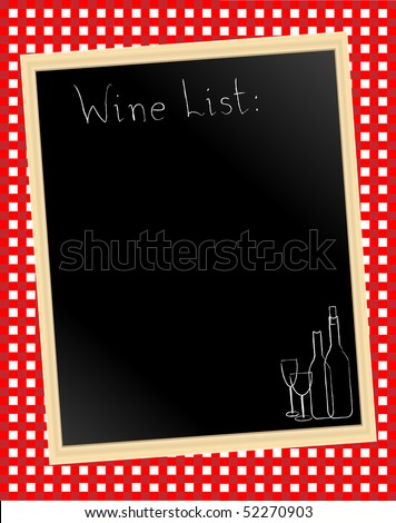 A vector illustration of a wine list chalkboard on gingham background - stock vector