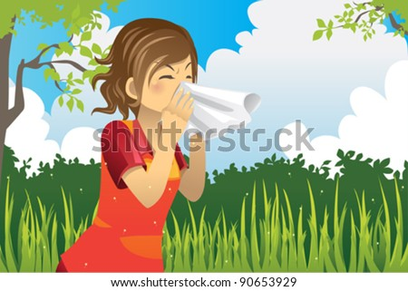 A vector illustration of a woman sneezing outdoor - stock vector