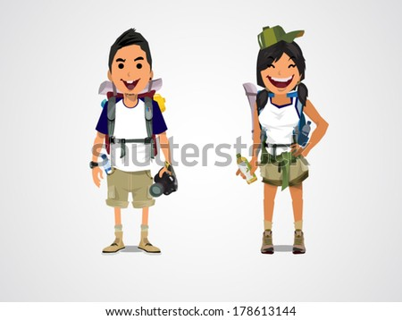 A vector illustration of adventure tourism - boy and girl - stock vector