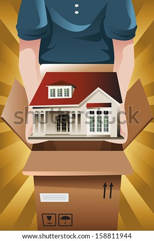 A vector illustration of Advertising for moving company - stock vector