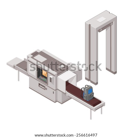 A vector illustration of airport security with luggage and X-Ray machine. Isometric airport security. Luggage being scanned through X-Ray machine.