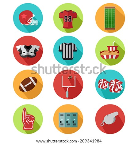 A vector illustration of American football icons - stock vector