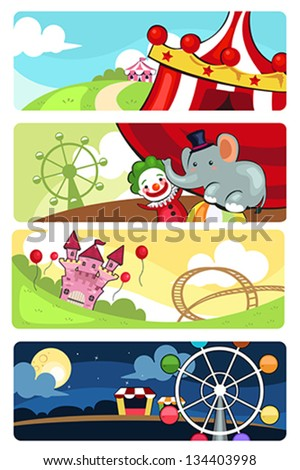 A vector illustration of amusement park banner sets - stock vector