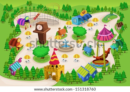 A vector illustration of amusement park map - stock vector