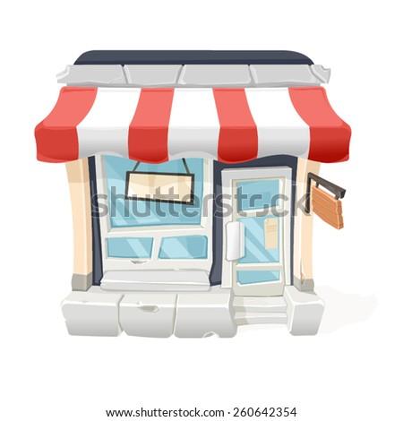 A vector illustration of an a cartoon store front. Cartoon Store. Cartoon Store front. - stock vector