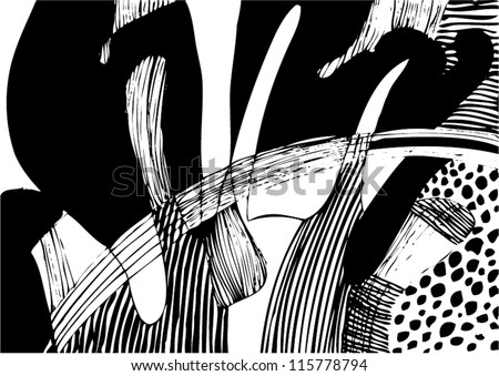 A vector illustration of an abstract black and white drawing. - stock vector