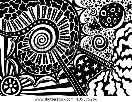 Vector Illustration Abstract Black White Pattern Stock ...