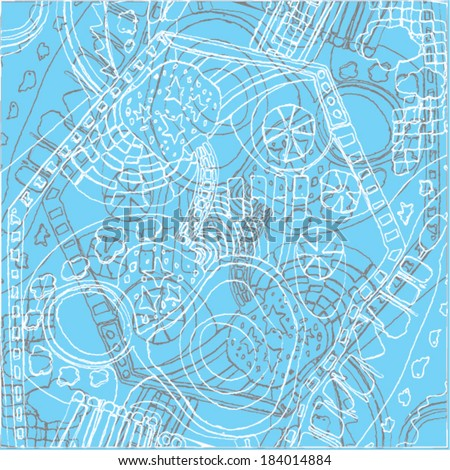 A vector illustration of an abstract ornamental drawing. Outline linear doodle. Blue, baby color.