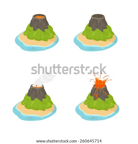 A vector illustration of an active volcano in four different states. Isometric Volcano Icons. Natural volcano Icon set. - stock vector