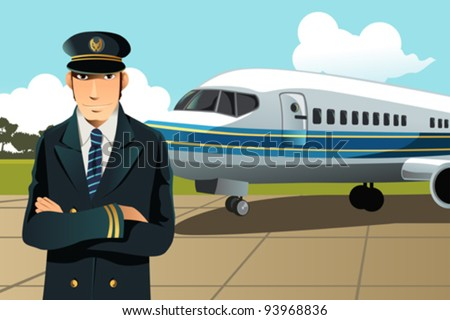 A vector illustration of an airplane pilot in front of the plane at the airport - stock vector