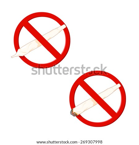 A vector illustration of an anti drugs symbol. Drug Abuse Common Icons for the banning of drugs. - stock vector
