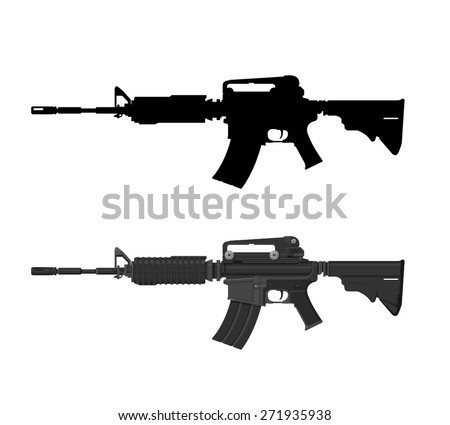 A vector illustration of an assault rifle. Assault rifle illustration Icon. Automatic fire rifle with silhouette included. - stock vector