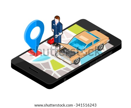 A vector illustration of an auto repair shop locater. Icon illustration of a repair garage with mechanic on Mobile phone. Wireless device with locater map app device.