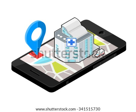 A vector illustration of an emergency service Hospital locater. Icon illustration of an Isometric hospital locater on a Mobile phone . Wireless device with locater map app device.