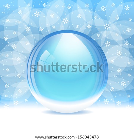 A vector illustration of an empty transparent snow globe with place for your text or object. Includes transparent objects and opacity masks. Layered.  - stock vector