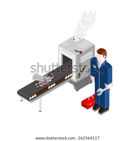 A vector illustration of an engineer fixing an industrial machine. Isometric Repair Handyman. Isometric man fixing a packing machine.