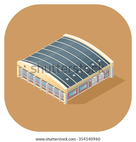 A vector illustration of an industrial factory or warehouse. Isometric Warehouse Building Icon illustration. Industrial production manufacturing facility. - stock vector
