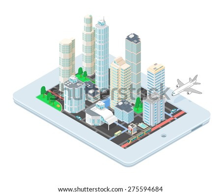A vector illustration of an Isometric Cityscape on tablet application. Isometric city map on tablet. Map location finder app. - stock vector