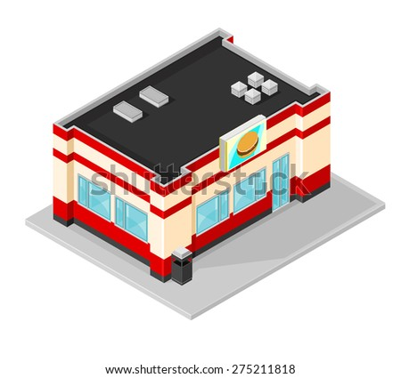 A vector illustration of an isometric fast food diner. Isometric American Diner Building. Burger bar icon illustration.