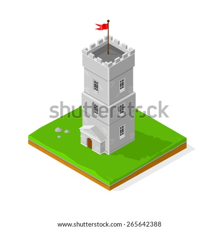 A vector illustration of an isometric for or castle Icon. Isometric Castle. Stone built fort or castle. - stock vector