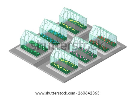 A vector illustration of an Isometric garden center. Isometric Garden Center. several greenhouses growing different plants.