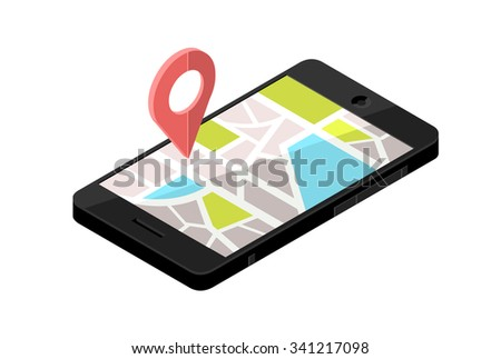 A vector illustration of an isometric mobile phone with a map location. Isometric Icon illustration a smart phone with an urban map. Mobile device technology giving directions.