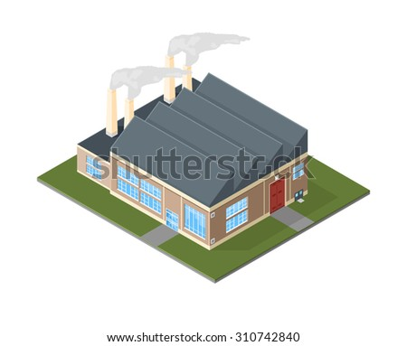 A vector illustration of an old style factory industrial building. Old Factory icon illustration. Air pollution concept with factory located on green land. - stock vector