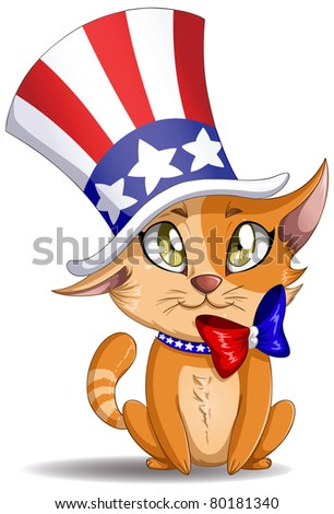 A Vector illustration of an orange kitten wearing a hat and bow designed as the American flag for the Forth of July.