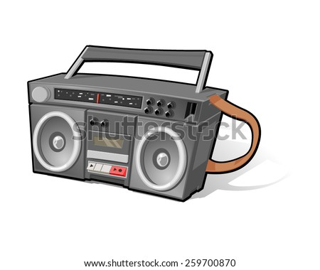 A vector illustration of an 80's Ghetto Blaster with tape deck and radio. Retro Ghetto Blaster. Sound System from the 1980s. - stock vector