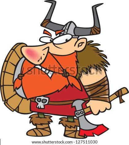 A vector illustration of angry cartoon viking - stock vector