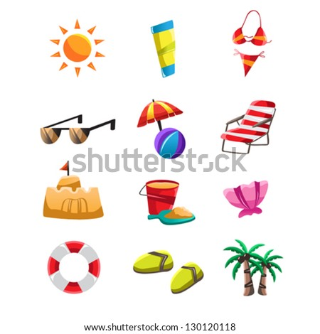 A vector illustration of beach icon sets - stock vector