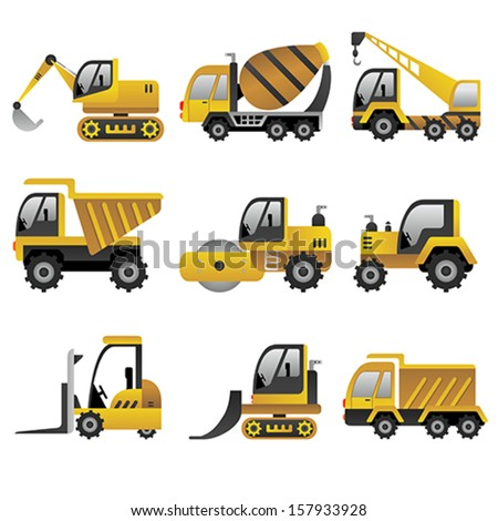 A vector illustration of big construction vehicles icon sets - stock vector