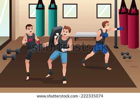 A vector illustration of boxer training in the gym - stock vector