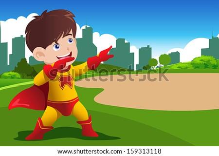 A vector illustration of boy in superhero costume - stock vector