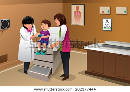 A vector illustration of boy with a cast on his arm at the doctor office - stock vector