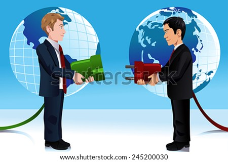 A vector illustration of Business concept of connecting Eastern and Western world - stock vector