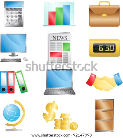 A vector illustration of business office icons - stock vector