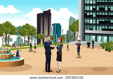 A vector illustration of Business people talking outside their office building - stock vector