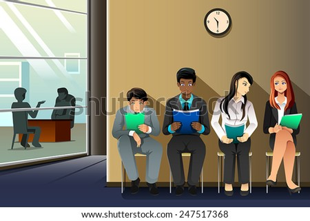 A vector illustration of business people waiting for their turn to be interviewed - stock vector